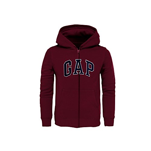 GAP Boys' Fleece Full Zip Logo Hoodie (Burgundy, Small (6-7)) (Arch Logo Zip)