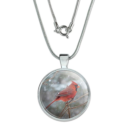 (Red Cardinal Bird in Snow Pendant with Sterling Silver Plated Chain)