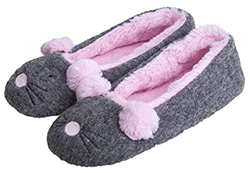 MIXIN Women's Rat-Cartoon Plush-Lined Ballet-Style Indoor Slippers Grey Size 7-8 M