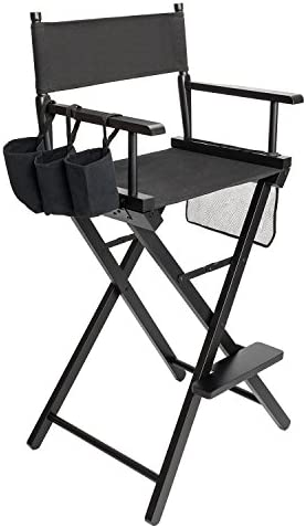 Mefeir 31 Tall Folding Director Artist Makeup Chair,250lbs Capacity with Replacement Cover, Portable Storage Side Bags,Solid Hardwood Polyester,Black