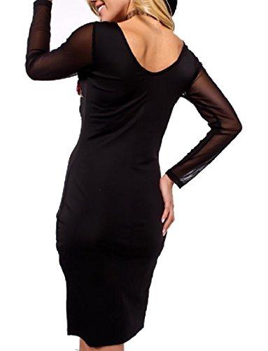 Coolred-femmes À Manches Longues Voir Par Partie Maille Avec Broderie En Forme Silm Robe Noire