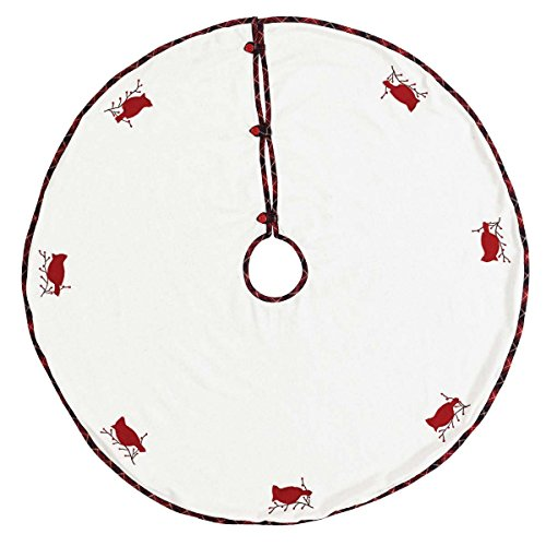 (VHC Brands Holiday Decor Seasons Greetings Tree Skirt, King, Red)