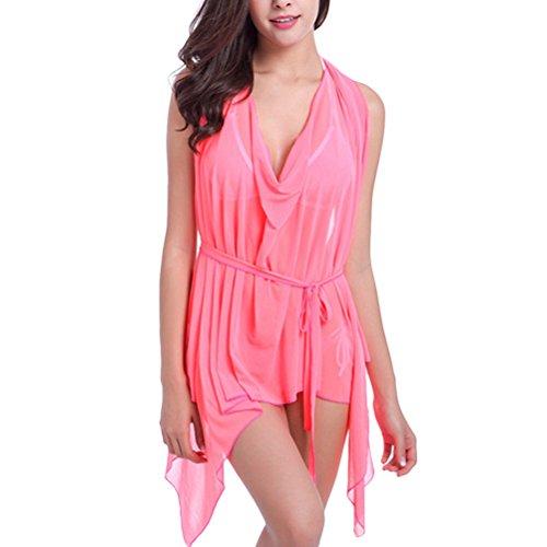 Zhhlinyuan Casual Summer Beach Dress Women's Net yarn Lrregular Skirt Various Styles Fluorescent Pink