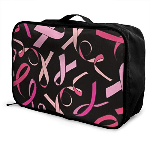 HFXFM Breast Cancer Ribbon Travel Pouch Carry-on Duffel Bag Waterproof Portable Luggage Bag Attach to Suitcase
