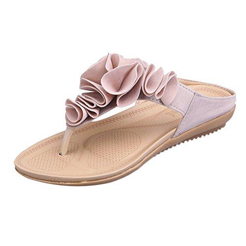(Women's Wedges Slipper Bohea Flip Flops Summer Beach T-Strap Flat Sandals Comfort Walking Shoes Beach Shoes Pink)