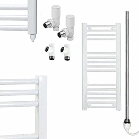 800 x 300 Supplied with PTC Electric Heating Element and Dual Fuel Valves on//off 25mm Crossbars Wall Mounted Bathroom Radiator Straight White Heated Ladder Towel Rail High Output