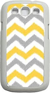 Grey and Mustard Ikat Chevrons- Case for the Samsung Galaxy S3 i9300 -Hard White Plastic Case
