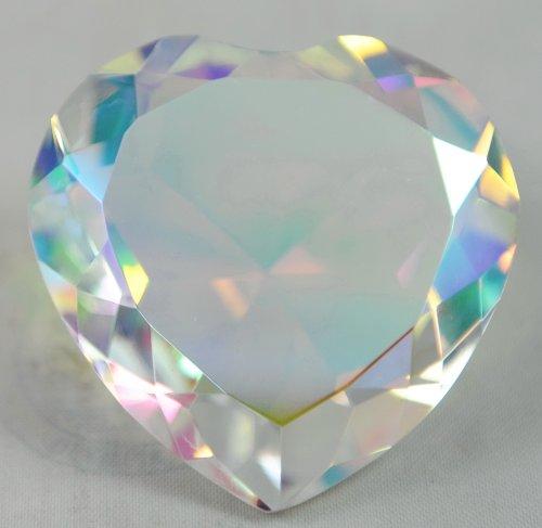 Crystal Diamond Jewel Paperweight 80 mm Heart Translucent Rainbow Crystal Heart Figurine