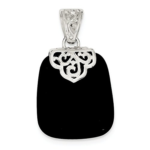 (Sterling Silver Black Onyx Pendant (1.54 Inches))