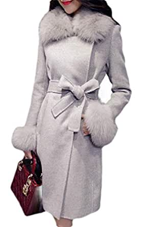 Macondoo Women Winter Double Breasted Thick Faux Fur Collar Long Jacket Coat Grey XS