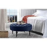 Divano Roma Furniture   Round Tufted Microfiber Coffee Table With Casters,  Ottoman With Wheels (