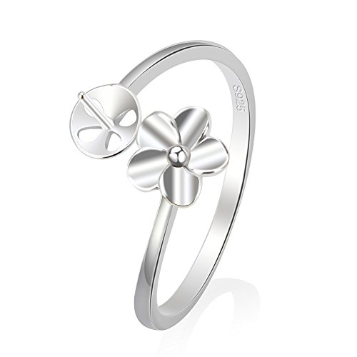 - NY Jewelry 1 Piece 925 Sterling Silver Flower Adjustable Pearl Ring Accessories/Mounting/Fittting