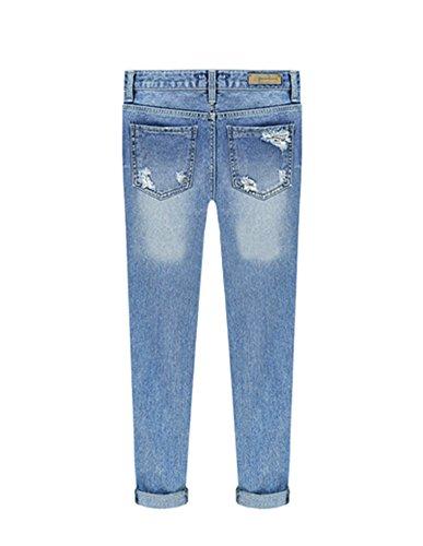 Rotos Agujero Rasgados Mujer Jeans Lavado Cintura Azul Ligera Alta Vaqueros Skinny w01q0YI