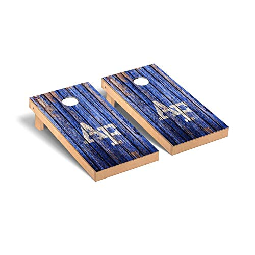 Victory Tailgate Regulation Collegiate NCAA Weathered Series Cornhole Board Set - 2 Boards, 8 Bags - Air Force Academy - Force Game Air Falcons