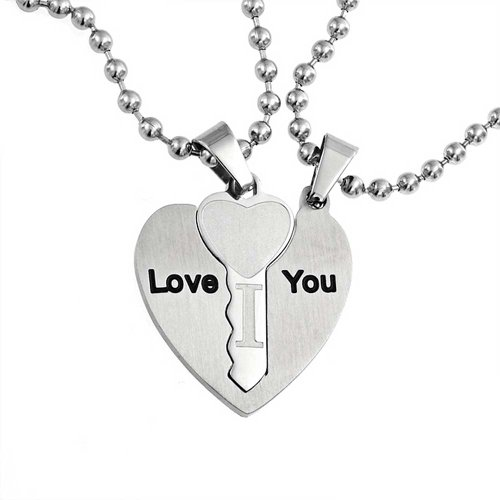 You Couples Heart Shaped Key Pendant Stainless Steel Necklace Set 18 Inches (Heart Shaped Key Pendant)