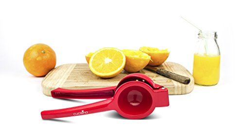 Cucisina Lemon Squeezer / Lime Juicer / Citrus Press - Commercial Grade Aluminum (Red) 6 Juices lemons, limes, and oranges quickly with ease Get every last drop with no pulp No more irritation from citrus juices on your hands