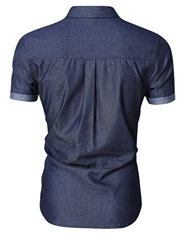 Mrwonder men 39 s casual slim fit button down shirt long for Mens short sleeve button down casual shirts
