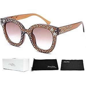 SamuRita Vintage Star Rhinestone Cat Eye Sunglasses Novelty Celebrity Shades(Brown)