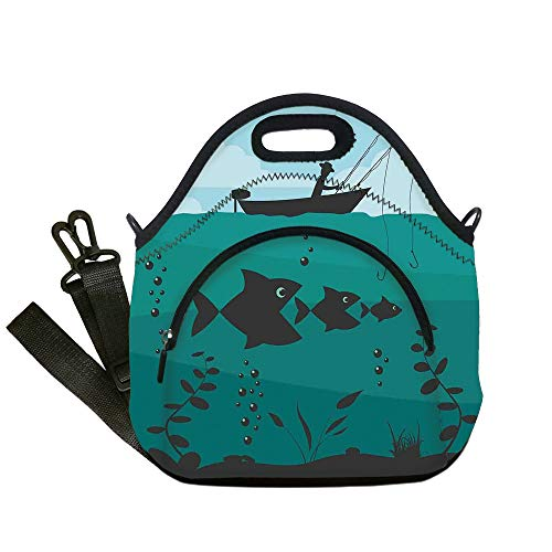 Insulated Lunch Bag,Neoprene Lunch Tote Bags,Fishing Decor,Single Man in Boat Luring with Bobbins Nautical Marine Sea Nature Funky Image,Blue Teal,for Adults and children