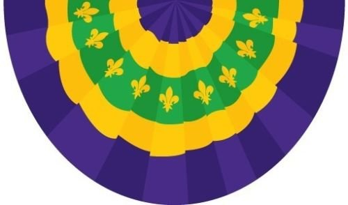 Wholesale Lot 5 Pack 3x5 ft New Orleans Mardigras Mardi Gras Bunting 3x5 Flag House Banner Grommets Double Stitched Metal Eyelets For Hoisting Fade Resistant Premium (Mardi Gras Bunting)