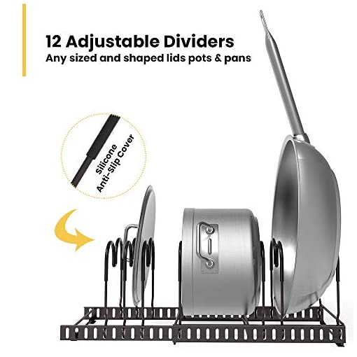 Kitchen 12 Adjustable Dividers Pot Lid Organizer Rack, Expandable Pan Holder for Kitchen Counter and Cabinet (generally) pot lid holders