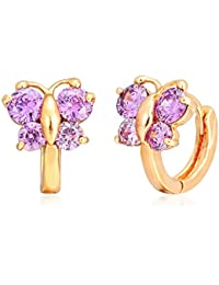 18K Yellow Gold Plated Butterfly CZ Mini Huggie Hoop Earrings for Baby Girls Children Kids 0.48""