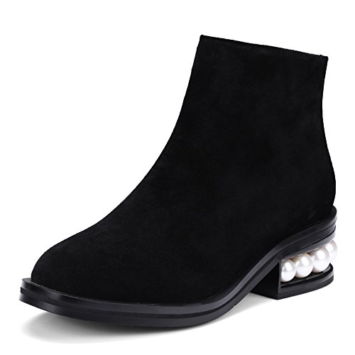 Heel Round Retro Toe Leather Classic Handmade Seven Pearls with Booties Black Ankle Chunky Women's Nine Boots suede E1wXvqCv