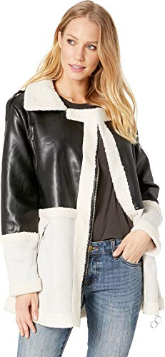 (Romeo & Juliet Couture Women's Faux Suede Aviator Jacket Black/Grey Small)