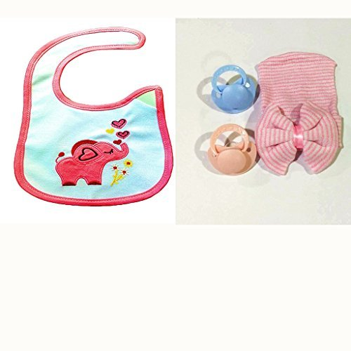 Baby Feeding Gift Sets Funny Cartoon Elephant Pink Waterproof Bibs Removable Baby Bibs for Boys and for Girls (Bib Elephant Pink Baby)