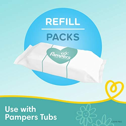 41JTnDQN9zL. AC - Baby Wipes, Pampers Complete Clean Scented Baby Diaper Wipes, 8X Pop-Top Packs And 8 Refill Packs For Dispenser Tub, 1152 Total Wipes (Packaging May Vary)