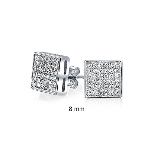 Unisex Square Shaped Micro Pave CZ Stud earrings 925 Sterling Silver 8mm ()