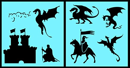 Auto Vynamics - STENCIL-DRAGONSET01-10 - Detailed Castle & Dragons Stencil Set - Includes Dragons, Knights, Castles, & More! - 10-by-10-inch Sheet - (2) Piece Kit - Pair of (Boy Fairy Tale Graffiti)