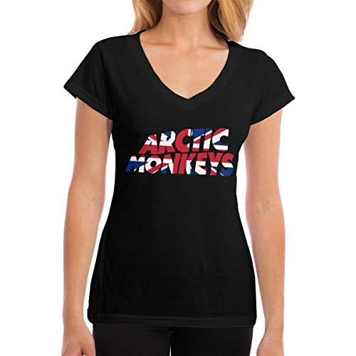 Arctic Monkeys T Shirt Women's V-Neck T Shirt Short Sleeve Cotton Tops Tees S Black (Arctic Monkeys Clothing Women)