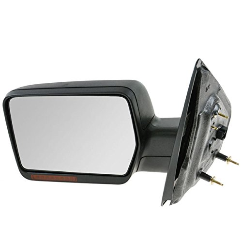 (2004 2005 2006 Ford F-Series F150 Pickup Truck Power Heated Manual Folding with Turn Signal Light without Puddle Lamp Black Textured Rear View Mirror Left Driver Side (04 05 06))