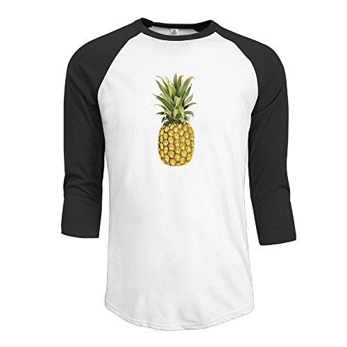Men's 3/4 Pineapple Sleeve Raglan T-Shirt Black - Style Rogen Seth