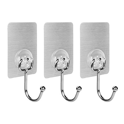 Oneach 17.6lb/8kg(Max) 304 Stainless Steel Traceless Polished Finish Adhesive Hooks Reusable Heavy Duty Wall Towel Hook No Scratch ,Waterproof and Oilproof, for Bathroom Kitchen Ceiling Hanger (3 PCS) - Polished Ceramic Finish