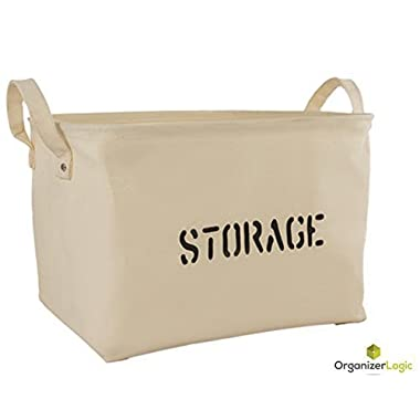 Storage Basket made from Eco-Friendly Cotton. Storage Bin is perfect for organizing the Nursery, Beauty Products, Office Supplies, Gift Baskets