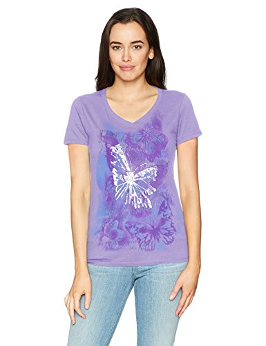 Hanes Women's Short Sleeve Graphic V-Neck Tee, Big Butterfly Impression/Salty Purple, X Large