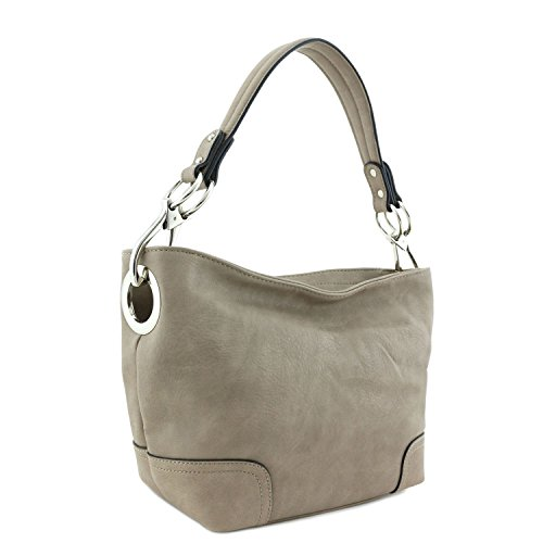 Small Hobo Shoulder Bag with Snap Hook Hardware Stone ()
