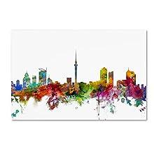 Auckland New Zealand Skyline by Michael Tompsett, 30x47-Inch Canvas Wall Art