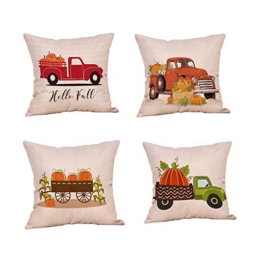 4-Pack Halloween Throw Pillow Case Car Pumpkin Fall Thanksgiving Cushion Cover Home Sofa Decor 18