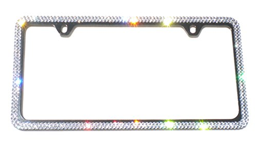Cool Blingz 2 Row Crystal License Plate Black Frame 2 Holes Rhinestone Bling Made with Swarovski Crystals
