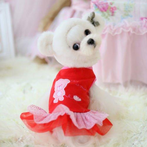 Chicpaw For Teacup Dogs Puppy Coat Chihuahua Red Bear Pet Clothes Dress e174 XXXS XXS (XXXS-Length18CM,Chest28CM)