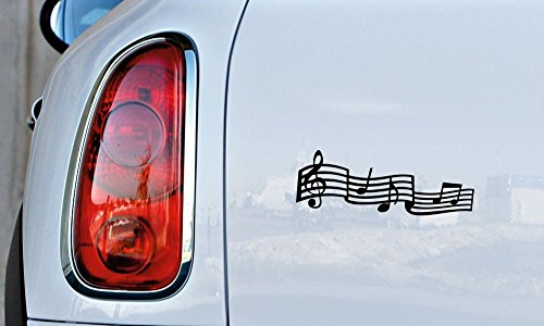 Music Notes Melody Version 1 Car Vinyl Sticker Decal Bumper Sticker for Auto Cars Trucks Windshield Custom Walls Windows Ipad Macbook Laptop and More (BLACK)