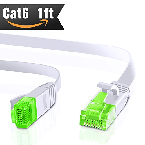 Ethernet Cable Cat 6 1ft (At a Cat5e Price but Higher Bandwidth) Internet Network Cable - Cat 6 Ethernet Patch Cable Short - Computer Cable With Snagless RJ45 Connectors