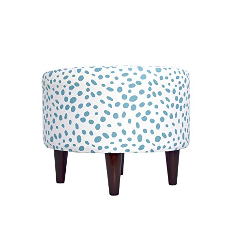 MJL Furniture Designs Sophia Collection Fabric Upholstered Round Footrest Ottoman with Round Espresso Finished Legs, Togo Series, Coastal Blue