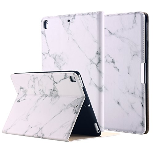 New iPad 2018/2017 9.7 Inch Case, LONTECT Marble Design PU Leather Folio Flip Smart Case Cover Stand with Auto Wake/Sleep for New iPad 2017 2018 9.7 Inch / iPad Pro 9.7 Inch - White