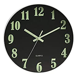 HENGDASI Luminous Wall Clock Black 12 Inch Silent Non Ticking Battery Operated Glass Cover Easy to Read Round Decorative for Kitchen Living Room Bedroom