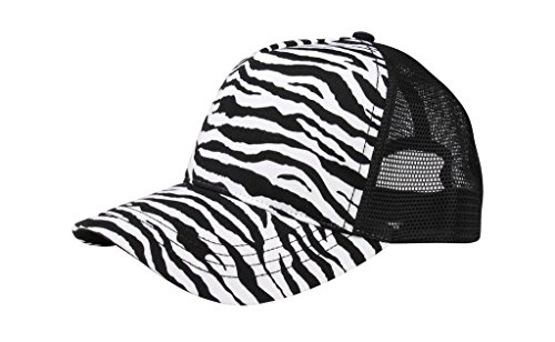 Zebra Print Hats (MG Unisex Fashion Animal Print Trucker Cap-6885-BLK-WT)