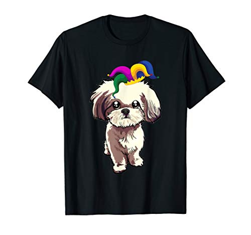 Shih Tzu With Jester Hat Mardi Gras Tshirt Dog Lover Gifts
